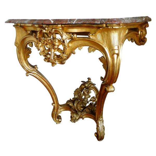 Console d'applique en bois doré d'époque Louis XV, vers 1760