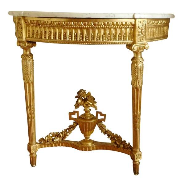 Console d'applique d'époque Louis XVI en bois sculpté et doré à la feuille d'or vers 1780