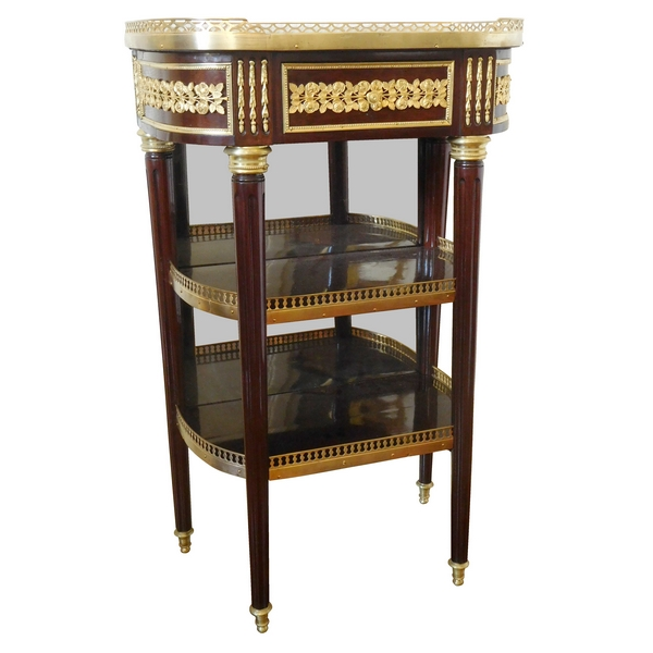 Petite console Louis XVI Directoire en acajou, garniture de bronze doré au mercure fin XVIIIe