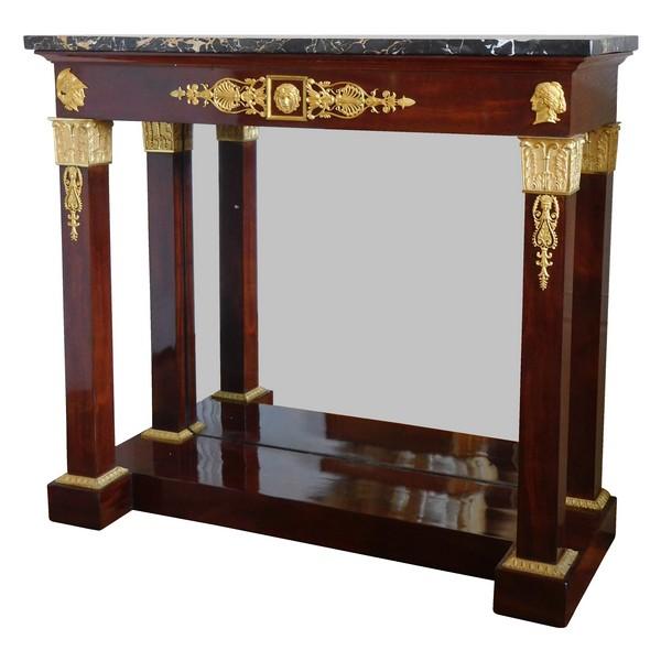 Thomire Duterme : console en acajou et bronze doré d'époque Empire