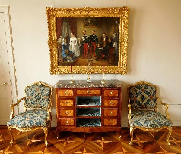 Meuble commode cartonnier en marqueterie d'époque Louis XV