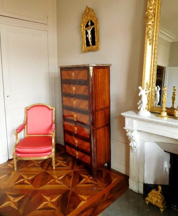 Semainier en bois de rose et violette d'époque Louis XVI, estampille de Dusautoy