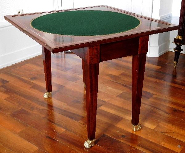 Table à jeux d'époque Empire en acajou et ébène, entourage de Jacob Desmalter