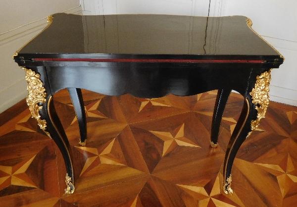 Table à jeu - console bois laqué & bronze doré style Régence, époque Napoléon III