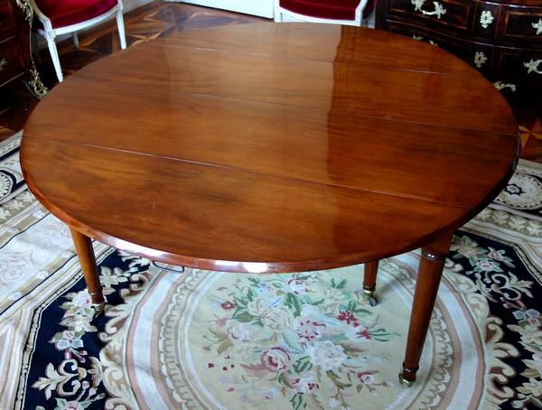 Table de salle à manger Louis XVI en acajou massif - époque fin XVIIIe - début XIXe siècle