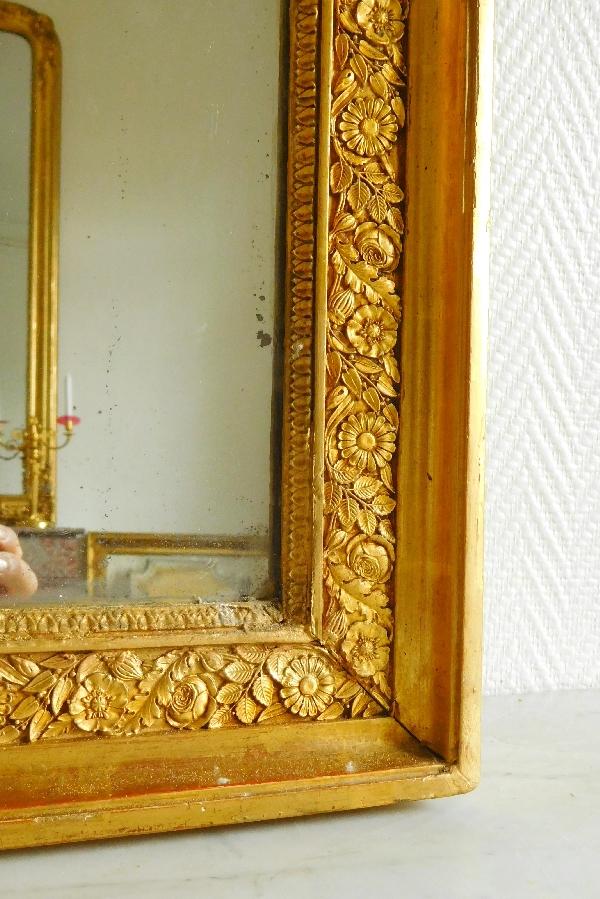 Miroir de cheminée en bois doré, glace au mercure en 2 parties, époque Empire, 83cm x 172cm