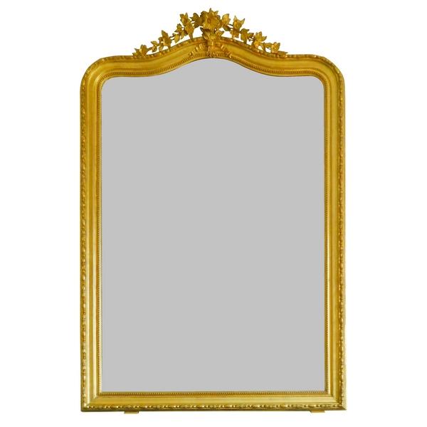 Très grand miroir de cheminée, cadre en bois doré, glace au mercure, époque Napoléon III - 135cm x 210cm