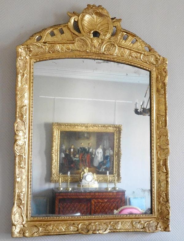 grand cadre miroir en bois sculpt et dor poque louis xiv glace au mercure. Black Bedroom Furniture Sets. Home Design Ideas