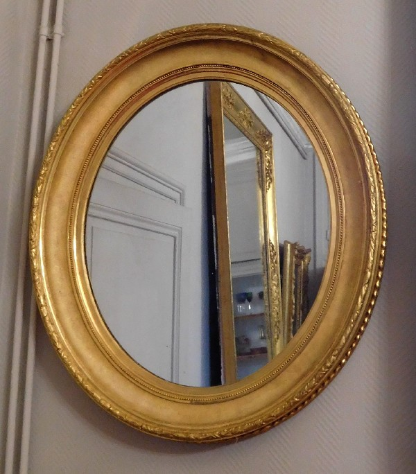 Grand miroir ovale xixe en bois dor la feuille d 39 or for Miroir in english