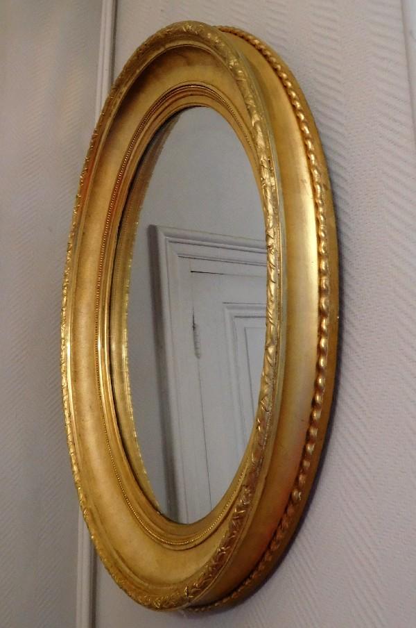 grand miroir ovale xixe en bois dor la feuille d 39 or glace au mercure 82cm x 71cm. Black Bedroom Furniture Sets. Home Design Ideas