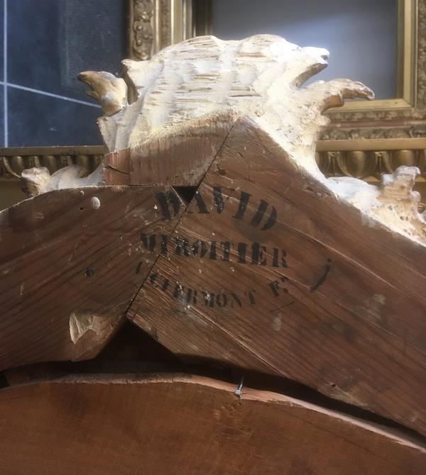Grande glace en bois sculpté et doré, époque Régence - 138cm x 212cm