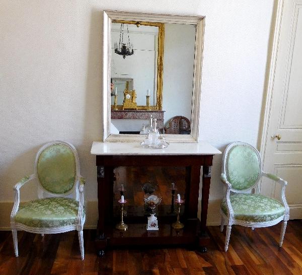 Grand miroir, cadre à la feuille d'argent, glace au mercure - 112cm x 88cm