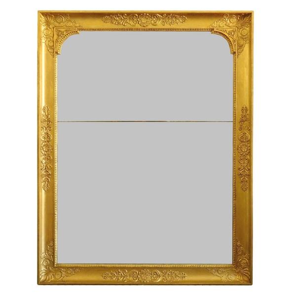 Miroir de cheminée d'époque Empire - Restauration, bois doré, glace au mercure 121cm x 96cm