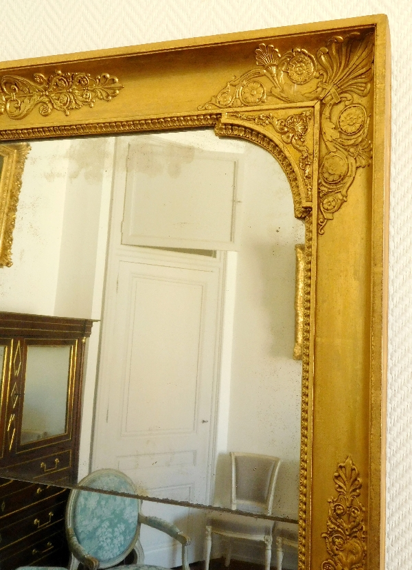 Miroir de chemin e d 39 poque empire restauration bois for Miroir dessus de cheminee