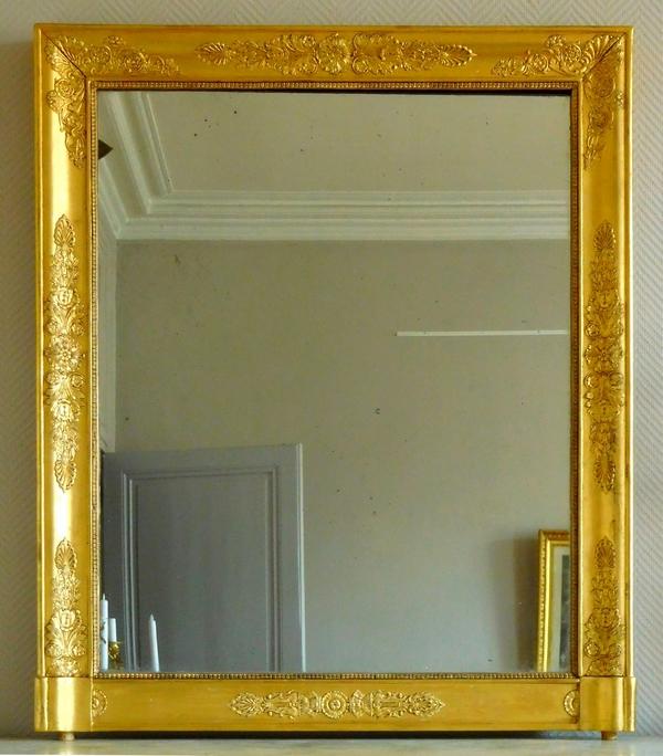 Miroir de cheminée d'époque Empire Restauration en bois doré à glace au mercure - 80,5cm x 97cm