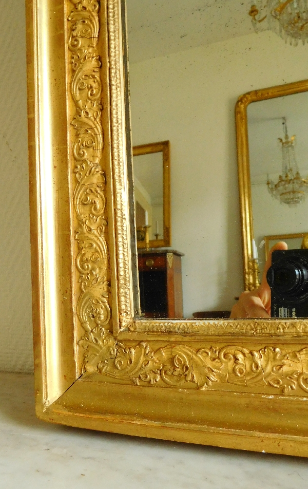 Miroir de cheminée en bois doré, glace au mercure en 2 parties, époque Empire, 76cm x 146cm