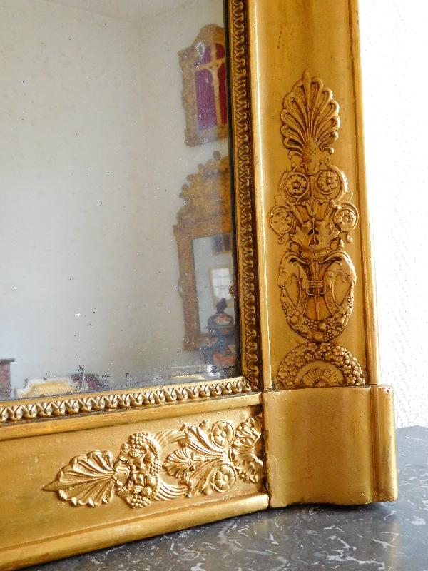 Miroir de cheminée d'époque Empire - Restauration, bois doré, glace au mercure - 134cm x 94,5cm