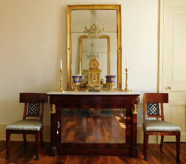Miroir de cheminée en bois doré, glace au mercure en 2 parties, époque Empire, 88,5cm x 129cm