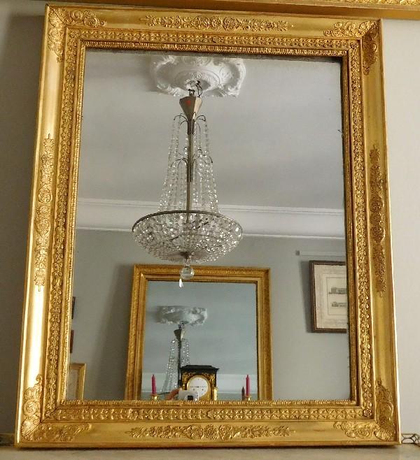 Miroir d 39 poque empire glace au mercure cadre en bois for Miroir au mercure