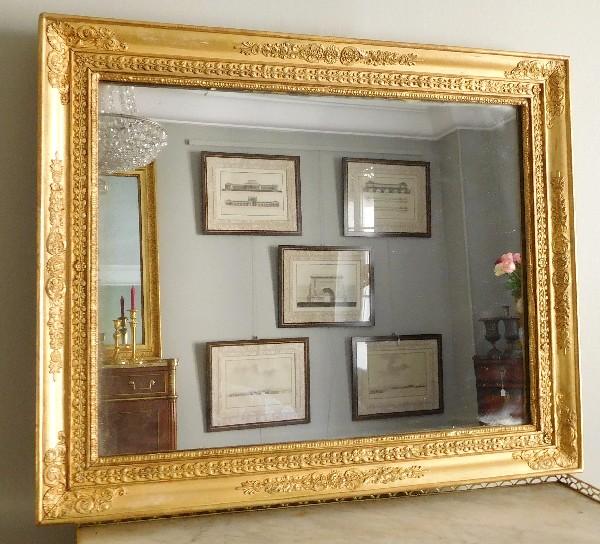Miroir d 39 poque empire glace au mercure cadre en bois for Glace miroir