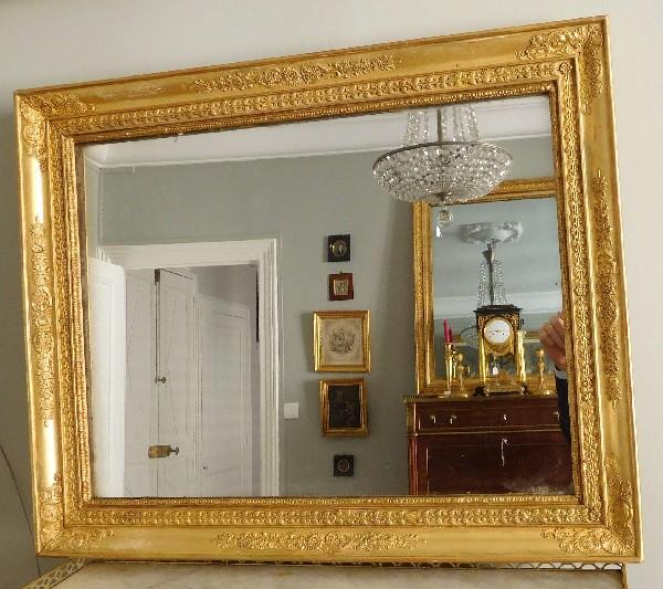 Miroir d 39 poque empire glace au mercure cadre en bois for Miroir glace