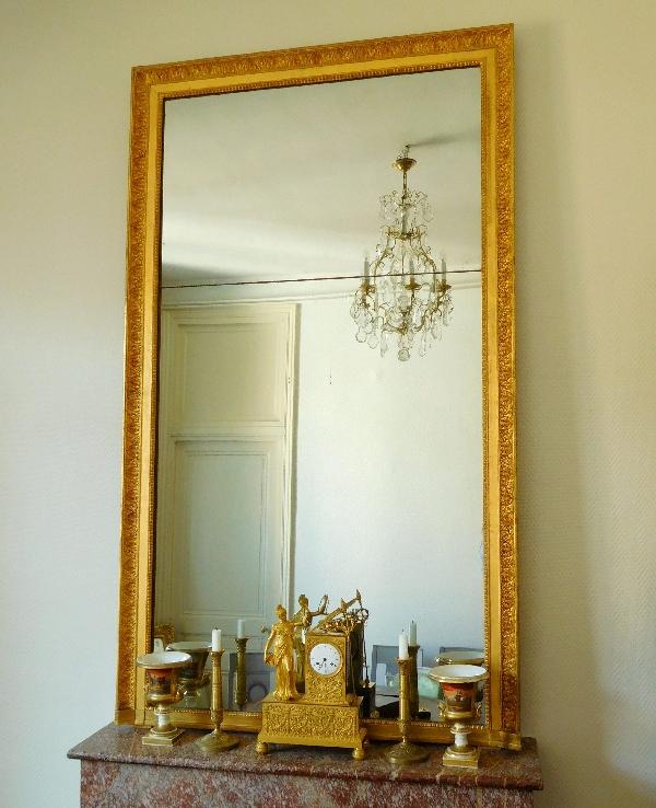 Grand miroir de chemin e cadre en bois dor glace au - Miroir de cheminee ...