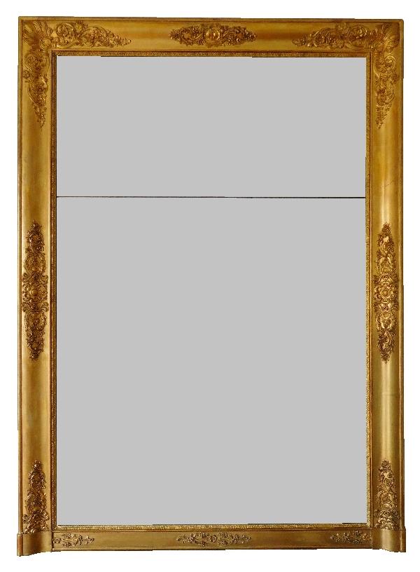 grand miroir en bois dor d 39 poque restauration glace au mercure. Black Bedroom Furniture Sets. Home Design Ideas