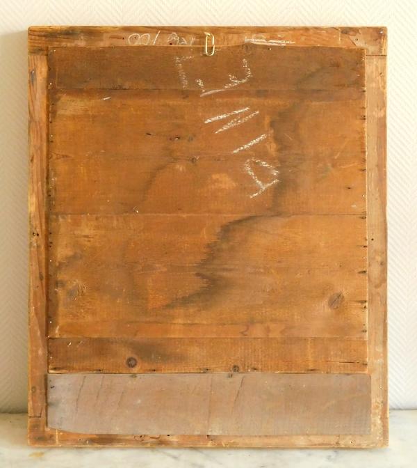 Miroir d'époque Empire, glace au mercure, cadre en bois doré à la feuille d'or - 65cm x 76cm