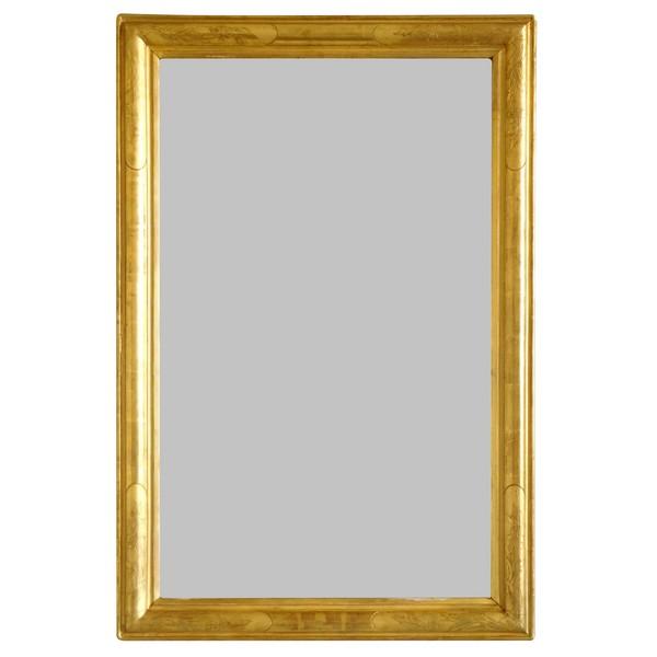 Miroir d'entre deux en bois doré à la feuille d'or, glace au mercure, époque 1840-50 - 63cm x 96cm