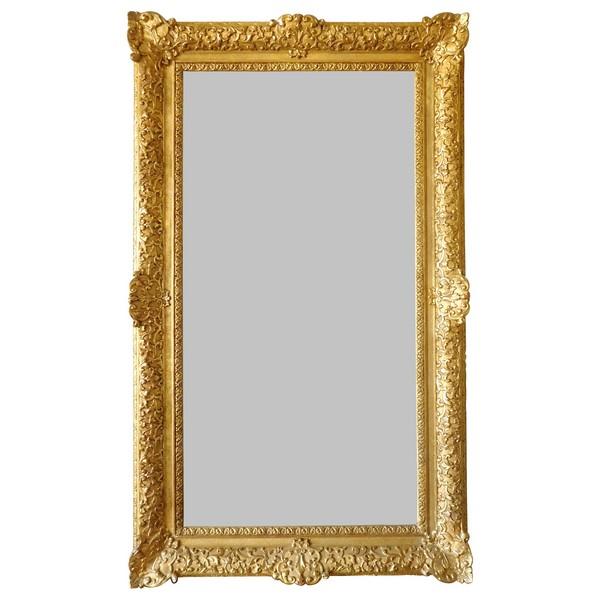 Miroir d'entre deux ou de cheminée de style Louis XIV Régence en bois doré, glace au mercure 160cm x 96cm