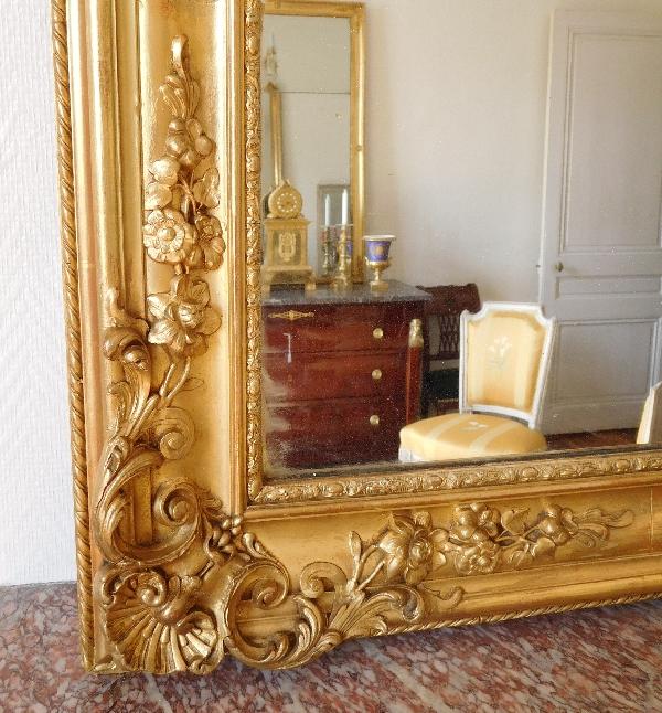 Grand miroir de cheminée, cadre en bois doré, glace au mercure, époque Napoléon III 185cm x 110cm