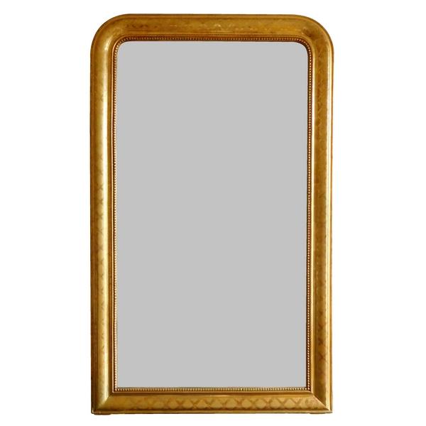 Miroir en bois doré à la feuille d'or, glace au mercure, époque Napoléon III