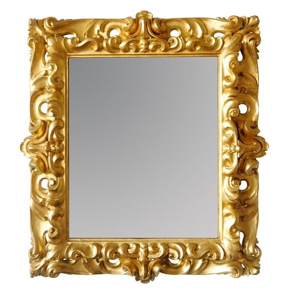 Grand miroir italien en bois sculpté et doré d'époque XVIIIe siècle - 98cm x 105cm