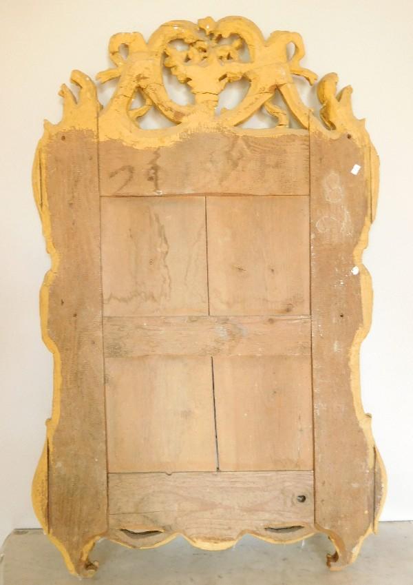 Grand miroir à parecloses en bois doré, glace au mercure, époque Louis XV Transition