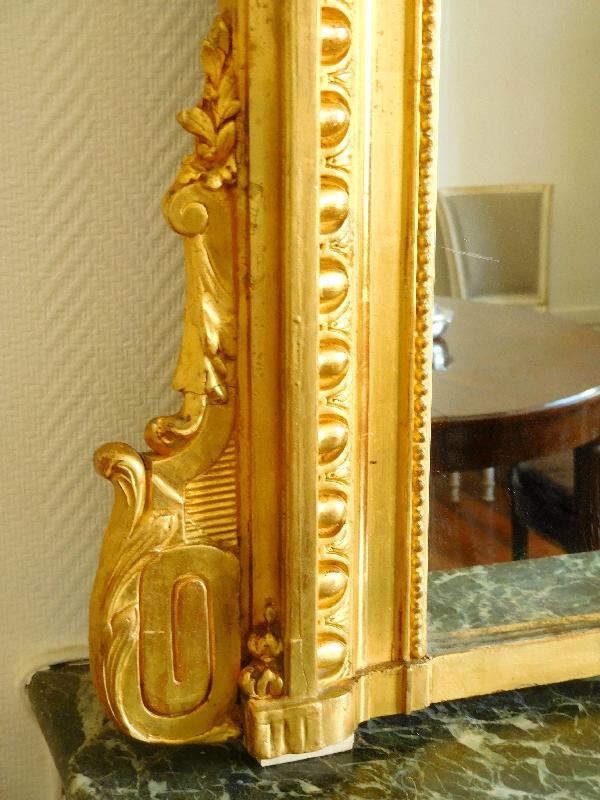 Très grand miroir en bois doré de style Louis XVI vers 1880 - 186cm x 140cm