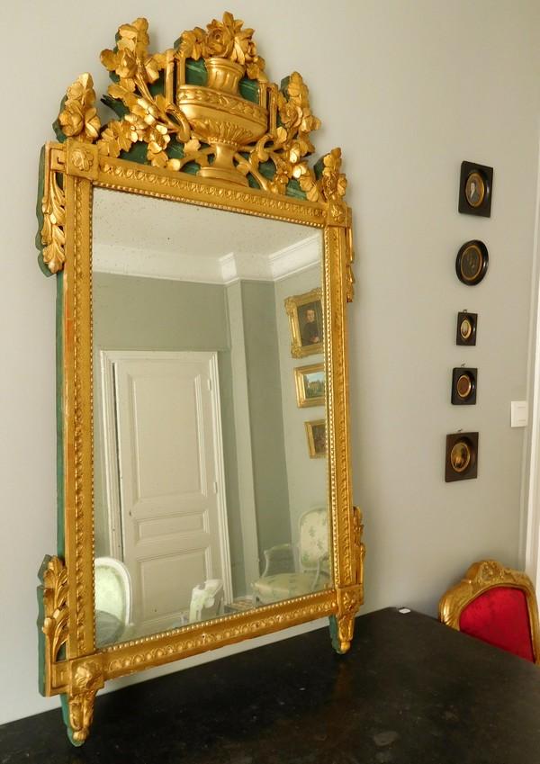 Grande glace proven ale en bois dor la feuille d 39 or poque louis xvi for Grande glace miroir