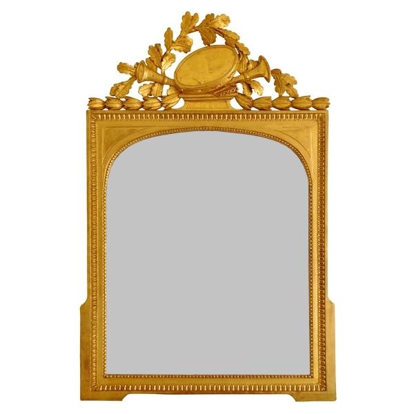 Miroir d'époque Louis XVI en bois doré au tambourin - glace au mercure biseautée 74cm x 108cm