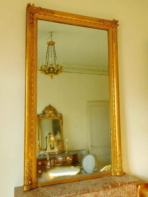 Miroir de cheminée en bois doré, glace au mercure en 2 parties, époque 1840, 110cm x 180cm