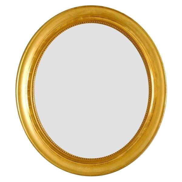 Miroir ovale XIXe en bois doré à la feuille d'or - glace au mercure - 76,5cm x 75cm