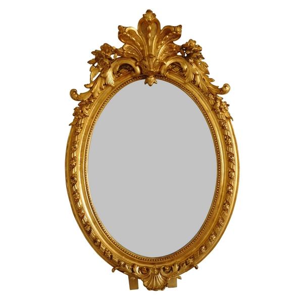 Miroir ovale en bois doré à la feuille d'or d'époque Napoleon III - 62cm X 95cm