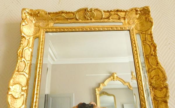 Miroir à pare-closes en bois doré, glace au mercure, époque Louis XIV Régence 48cm x 56cm