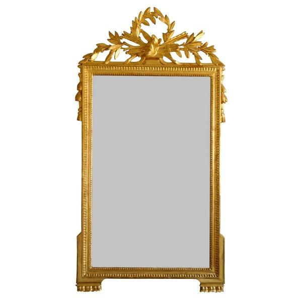 Grand miroir en bois doré, glace au mercure, travail Provençal d'époque Louis XVI - 76cm x 146cm