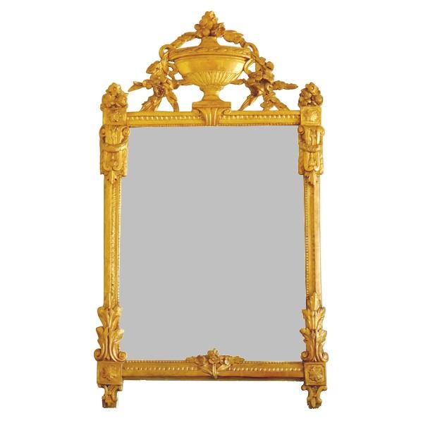 Grand miroir en bois doré, glace au mercure, travail provençal d'époque Louis XVI