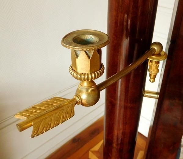 Miroir psyché en acajou et bronze doré au mercure, glace au mercure, époque Empire début XIXe