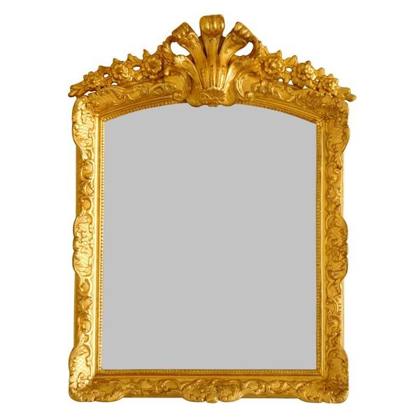 Miroir en bois doré d'époque Louis XIV - Régence - dorure à la feuille d'or - 75cm x 57cm