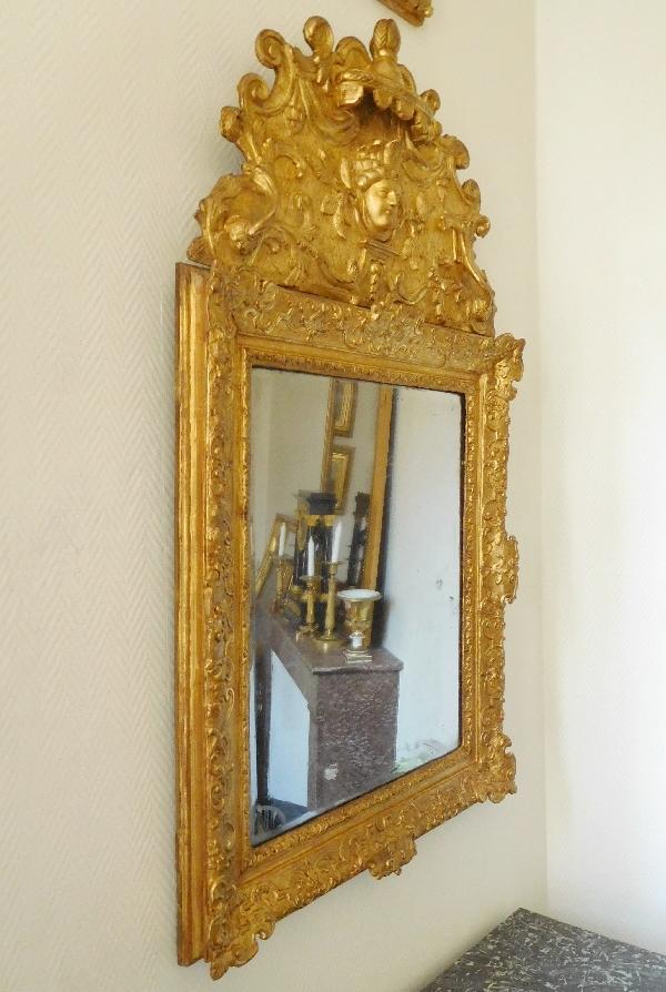 Miroir fronton en bois dor d 39 poque r gence masque d for Miroir au mercure