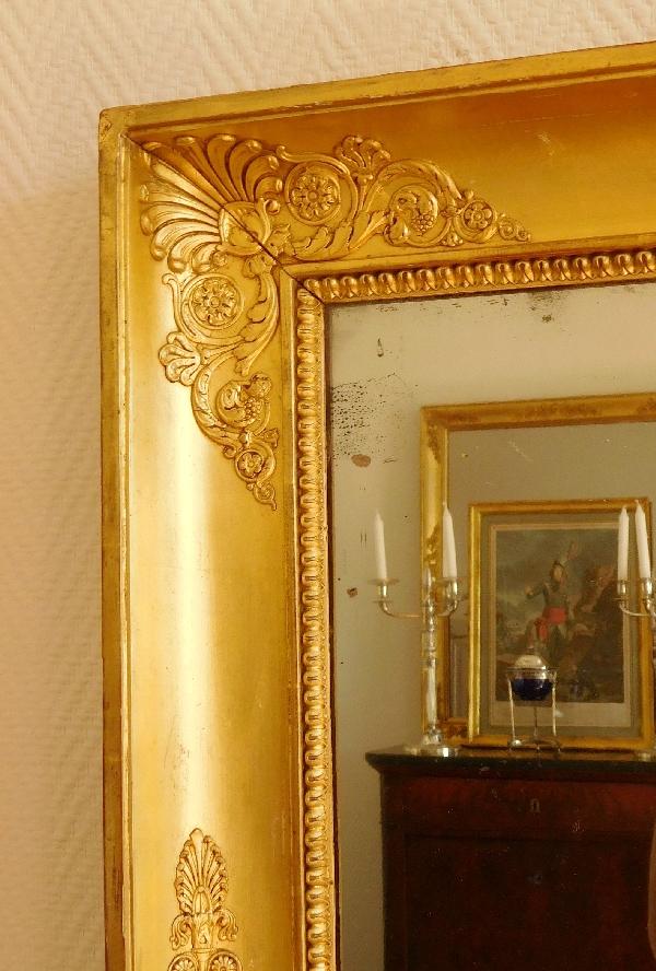 Miroir d'époque Empire en bois doré, glace au mercure
