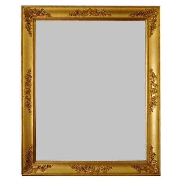 Miroir Empire aux mascarons, glace au mercure, cadre en bois doré à la feuille d'or - 71cm x 87cm