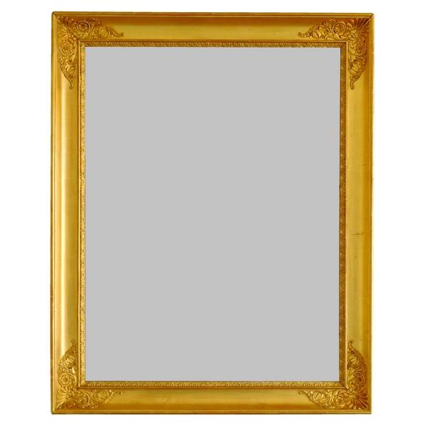 Miroir d'époque Empire Restauration en bois doré, glace au mercure - 67,5cm x 85,5cm