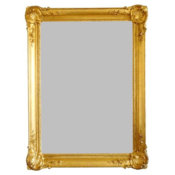 Grand miroir en bois doré à la feuille d'or, glace au mercure - style Louis XV, milieu XIXe